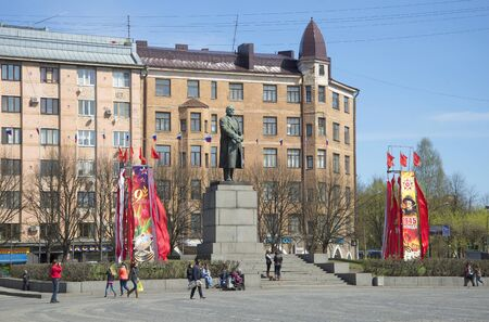 VYBORG, RUSSIA - MAY 10, 2015: View of the monument to Vladimir Lenin in red square may day