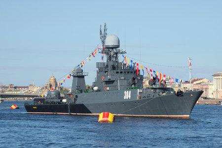 leningrad: SAINT PETERSBURG, RUSSIA - MAY 09, 2015: Small anti-submarine ship Urengoy on parade in honor of Victory day closeup. Saint Petersburg