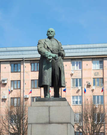 The monument to VI Lenin closeup. Vyborg Stock Photo