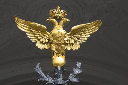 Double-headed eagle on the gates of the Winter Palace closeup Stock Photo