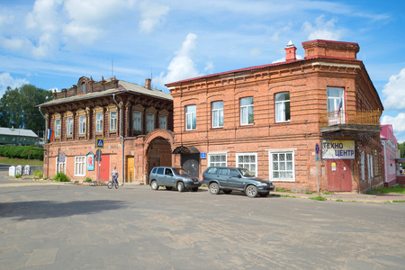 MYSHKIN, RUSSIA - JULY 13, 2016: The ancient merchant estate in the city of Myshkin. Now here the distrit prosecutors office and the House of childrens creativity are located