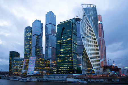 14: MOSCOW, RUSSIA - APRIL 14, 2015: Business center Moscow-city in the cloud April twilight