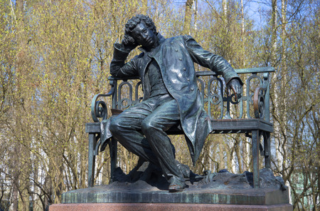 pushkin: SAINT PETERSBURG, RUSSIA - MAY 03, 2015: At the monument to AS Pushkin on a spring day. Tsarskoye Selo