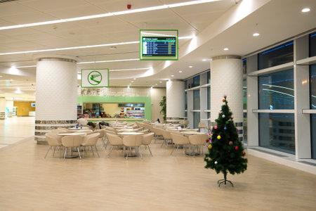 ASHGABAT, TURKMENISTAN - DECEMBER 10, 2016: Cafe in the new modern international terminal of Ashgabat airport Editorial