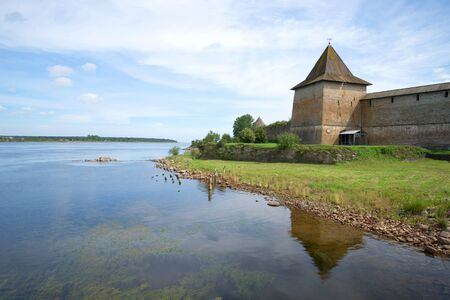 August landscape with river Neva and the historic fortress. The Oreshek Fortress, Shlisselburg. Russia