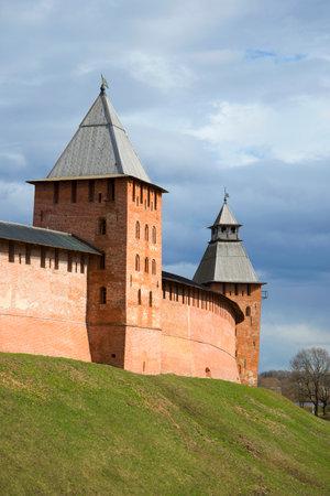 spasskaya: Towers of the Novgorod Kremlin, cloudy April day. Veliky Novgorod, Russia