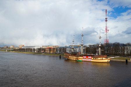 volkhov: VELIKY NOVGOROD, RUSSIA - APRIL 24, 2015: View of the embankment of the Volkhov river, cloud April day