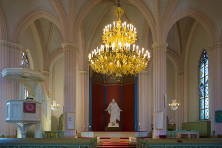 LOVIISA, FINLAND - 20 AUGUST 16, 2016: The interior of the altarpiece of the old Lutheran church