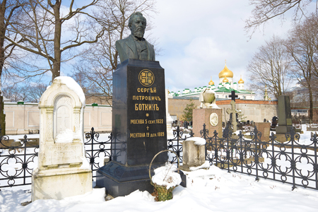 petrovich: ST PETERSBURG, RUSSIA - APRIL 15, 2017: Monument on the grave of the famous Russian physician Sergei Petrovich Botkin on the Novodevichy Cemetery a cloudy March day