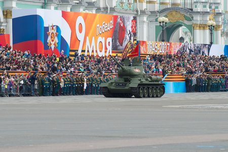 ST. PETERSBURG, RUSSIA - MAY 07, 2017: The T-34 tank opens a dress rehearsal of a parade in honor of the Victory Day