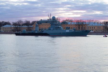 SAINT-PETERSBURG, RUSSIA - MAY 03, 2017: Small anti-submarine ship Urengoy on the evening Neva river