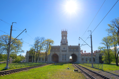 Old building of the railway station of New Peterhof, Russia