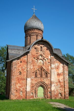 Medieval church of the holy apostles Peter and Paul in Kozhevniki close-up on a sunny July day. Veliky Novgorod, Russia Stock Photo