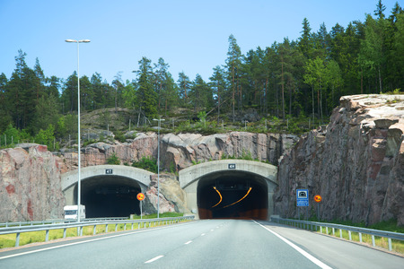 Entry into the mountain tunnel on the Helsinki-Turku highway