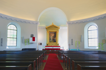 lutheran: HAMENENLINNA, FINLAND - JUNE 10, 2017: Interior of the Old City Lutheran Church Editorial