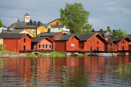 Old coastal barns close-up on a June evening. Old Porvoo, Finland