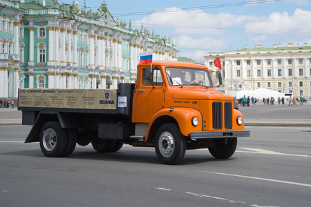 SAINT-PETERSBURG, RUSSIA - MAY 21, 2017: One of the last trucks of the firm Editorial