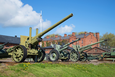 HAMENENLINNA, FINLAND - JUNE 10, 2017: Exposition of artillery pieces in the military museum of the city of Hameenlinna Editorial