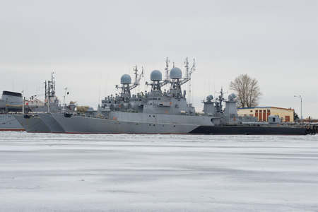 Small anti-submarine ships of the Baltic Navy in winter. Kronstadt Editorial