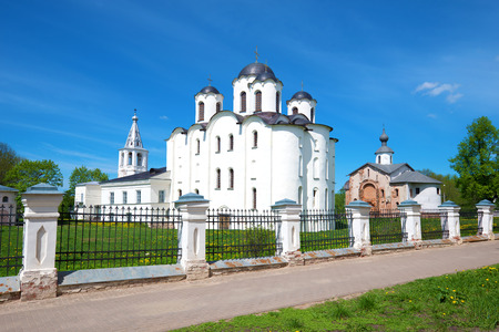View of the St. Nicholas Cathedral (1113) on Yaroslavs Court on a sunny May day. Veliky Novgorod, Russia