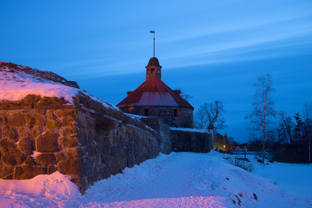 The February evening at the ancient tower of Lars Torstenson. Fortress Korela, Russia Editorial