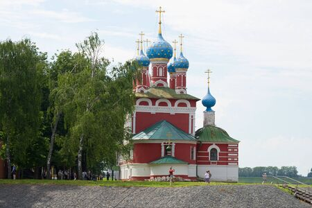 UGLICH, RUSSIA - JULY 16, 2017: Dimitriis church on blood close up in the cloudy June afternoon. Golden Ring of Russia Editorial