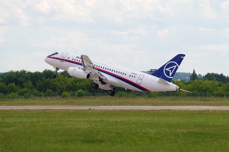 ZHUKOVSKY, RUSSIA - JULY 20, 2017: Take-off passenger aircraft Sukhoi Superjet 100 leaves in the right turn. Zhukovsky Airport, MAKS-2017 Air Show