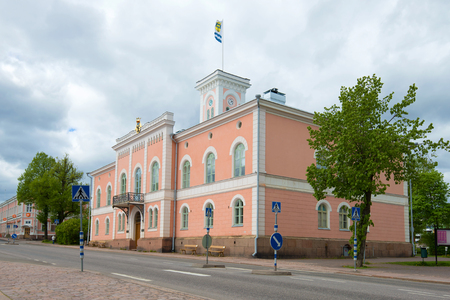 LOVIYSA, FINLAND - JUNE 03, 2017: Old building of a town hall in the gloomy June afternoon Editorial