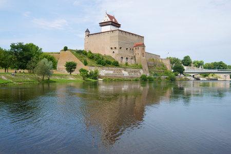 Hermans Castle over the Narva river. Narva, Estonia Editorial
