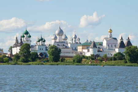 yaroslavl: Orthodox domes over the Kremlin of Rostov Veliky in the sunny July afternoon. Golden Ring of Russia