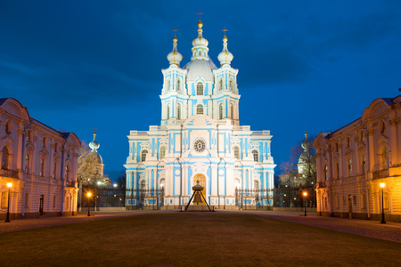 leningrad: Smolny Cathedral on the may night. Saint-Petersburg, Russia