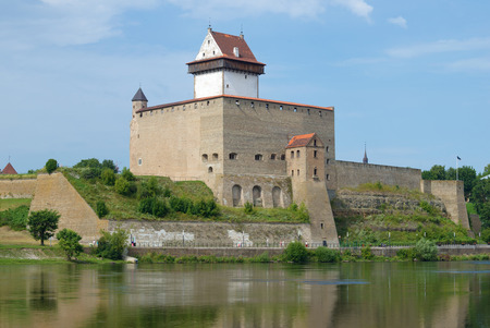 The ancient castle of Herman on a sunny August day. Narva, Estonia Stock Photo