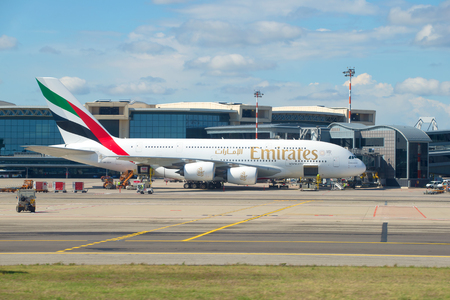 MILAN, ITALY-SEPTEMBER 17, 2017: The largest passenger airplane - Airbus A380-861 (A6-EEN) from Emirates Airline on the Malpensa airport Editorial