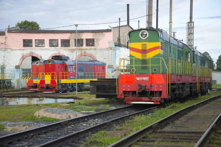 SHARYA, RUSSIA - SEPTEMBER 04, 2017: Shunting locomotives of ChME3 in locomotive depot