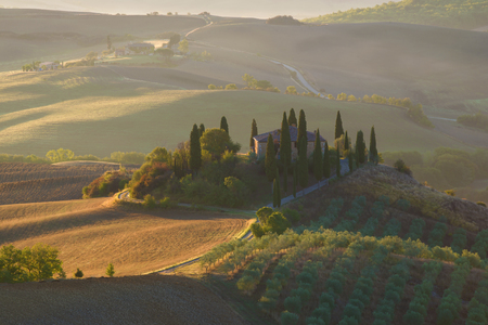 sep: Villa Belvedere in the morning September landscape. Tuscany, Italy Stock Photo