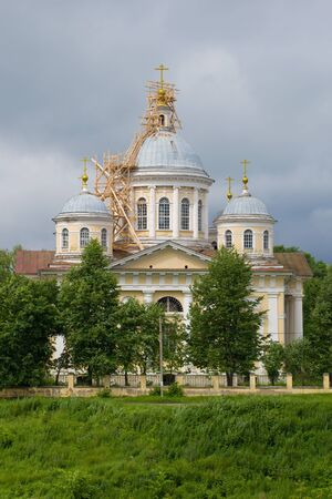 Savior Transfiguration Cathedral close-up on a gloomy July day. Torzhok, Russia
