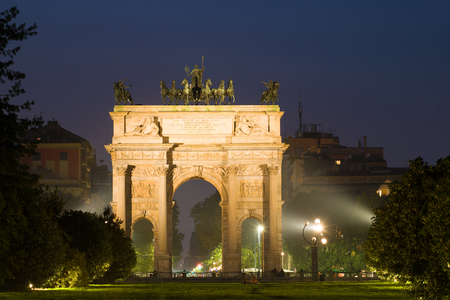 Triumphal Arch (Porta Sempione) in the Night Scenery, Milan Stock Photo