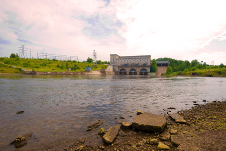 Narva hydroelectric power station on a cloudy August evening. Ivangorod, Russia