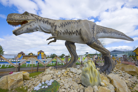 KIROV, RUSSIA - AUGUST 30, 2017: Sculpture of tyrannosaurus close-up. Thematic childrens park Editorial