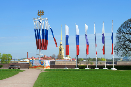 SAINT-PETERSBURG, RUSSIA - MAY 22, 2017: Celebratory flags for the birthday of St. Petersburg on the Spit of Vasilievsky Island Editorial