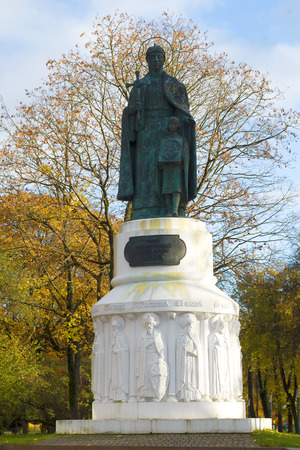 PSKOV, RUSSIA - OCTOBER 21, 2017: Monument to the grand duchess Olga close up in the October afternoon