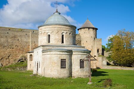 Ancient St. Nicholas Church close-up on a sunny September day. Ivangorod Fortress, Russia Stock Photo