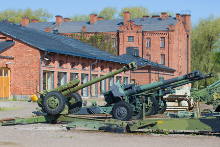 HAMEENLINNA, FINLAND - JUNE 10, 2017: Fragment of the exposition of the Hameenlinna artillery museum on a sunny June day