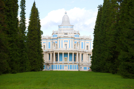 A view of the Pavilion of a waterslide from the fir-tree alley. Palace park of Oranienbaum
