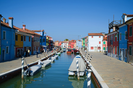 VENICE, ITALY - SEPTEMBER 29, 2017: Sunny day on the Burano island
