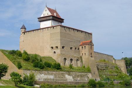 Hermans Castle closeup sunny August day. Narva, Estonia
