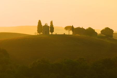 September dawn at the Cappella della Madonna di Vitaleta. Tuscany, Italy