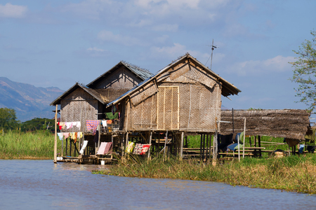 Traditional house of the Intha people on the Inle Lake. Burma