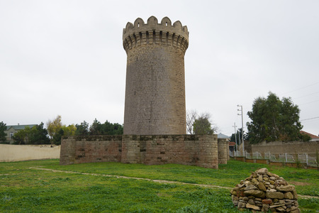 Round castle on a cloudy. Mardakan, Azerbaijan