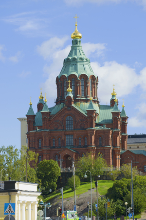 HELSINKI, FINLAND - AUGUST 28, 2016: Cathedral of the Assumption of the Blessed Virgin Mary close-up August day Editorial